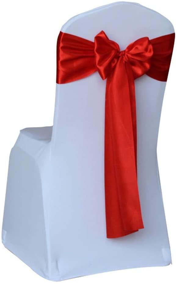 Noeud de chaise Satin Rouge et de table mange-debout décoratif 275 x 17 cm location grenoble