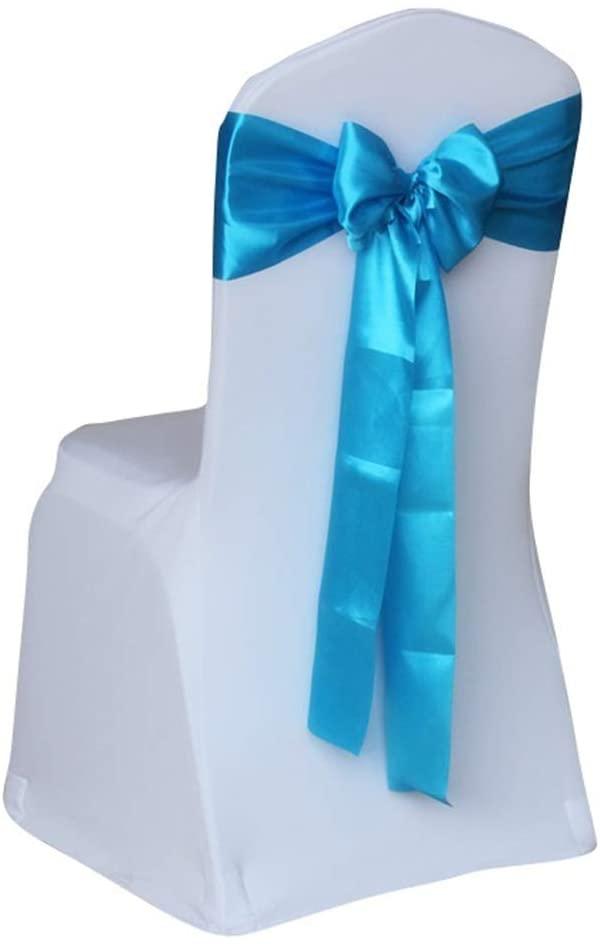 Noeud de chaise en Satin Bleu Ciel et de table mange-debout décoratif 275x17 cm location grenoble