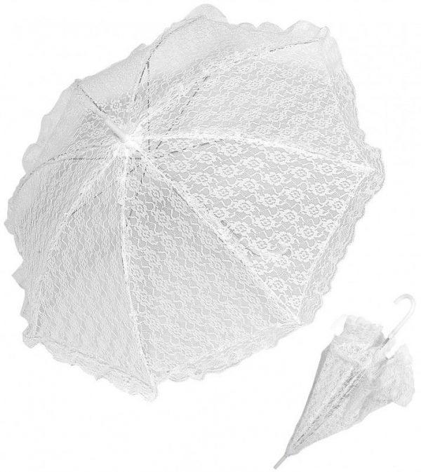 Ombrelle blanche en dentelle, avec manche plastique blanc, poignée courbée. Pour mariage, cérémonie, déguisement,... Hauteur : 70 cm. Diamètre : 83 cm.
